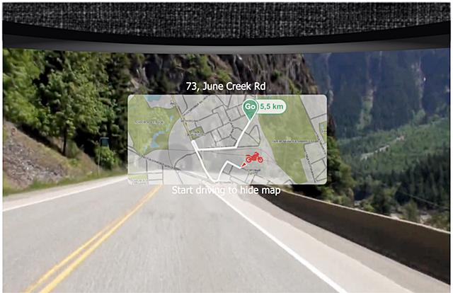 Pada layar kaca helm muncul informasi dan petunjuk jalan