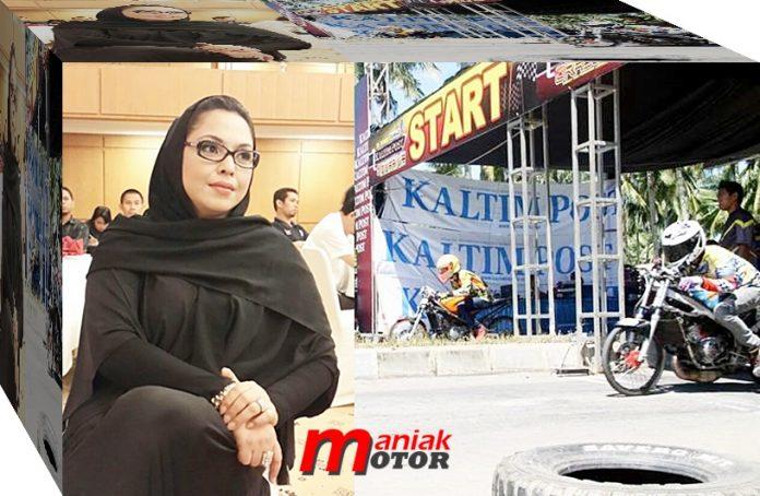 Ftria Alaydrus, Pengda IMI, kaltim, Wanita Pertama, Drag Bike